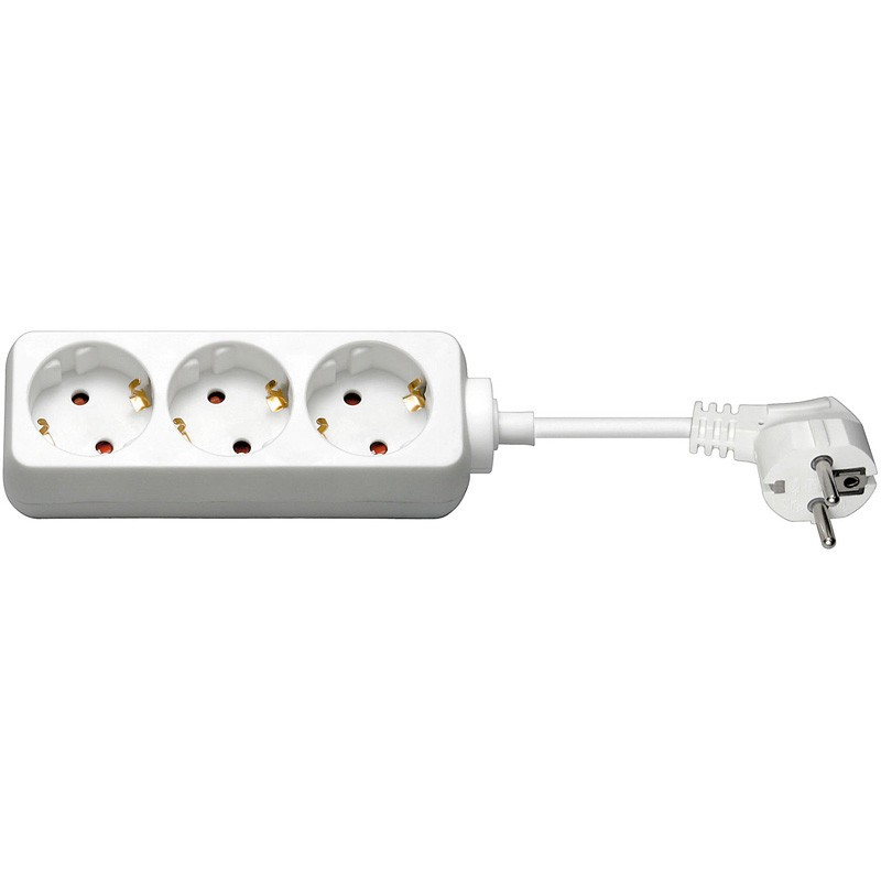Afbeelding van 3 way power strip 1,50m white