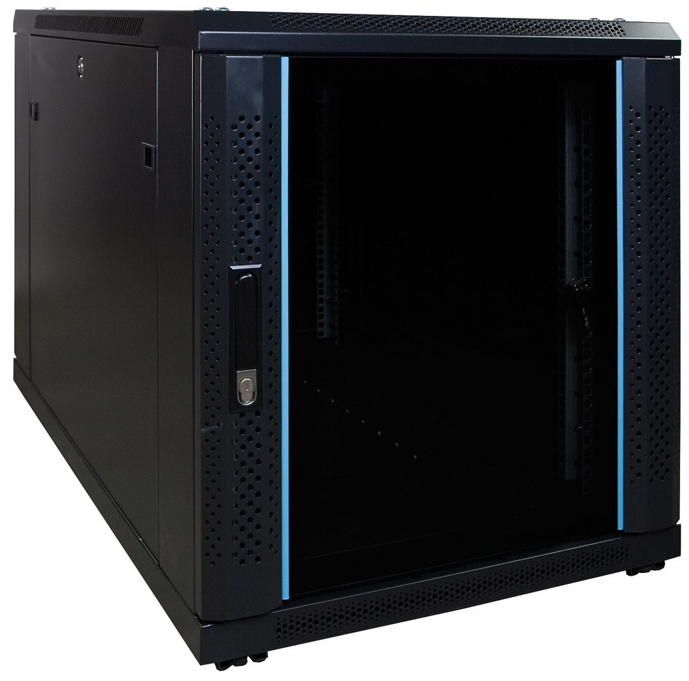 Afbeelding van 12U mini server cabinet with glass door 600x1000x635mm (WxDxH)