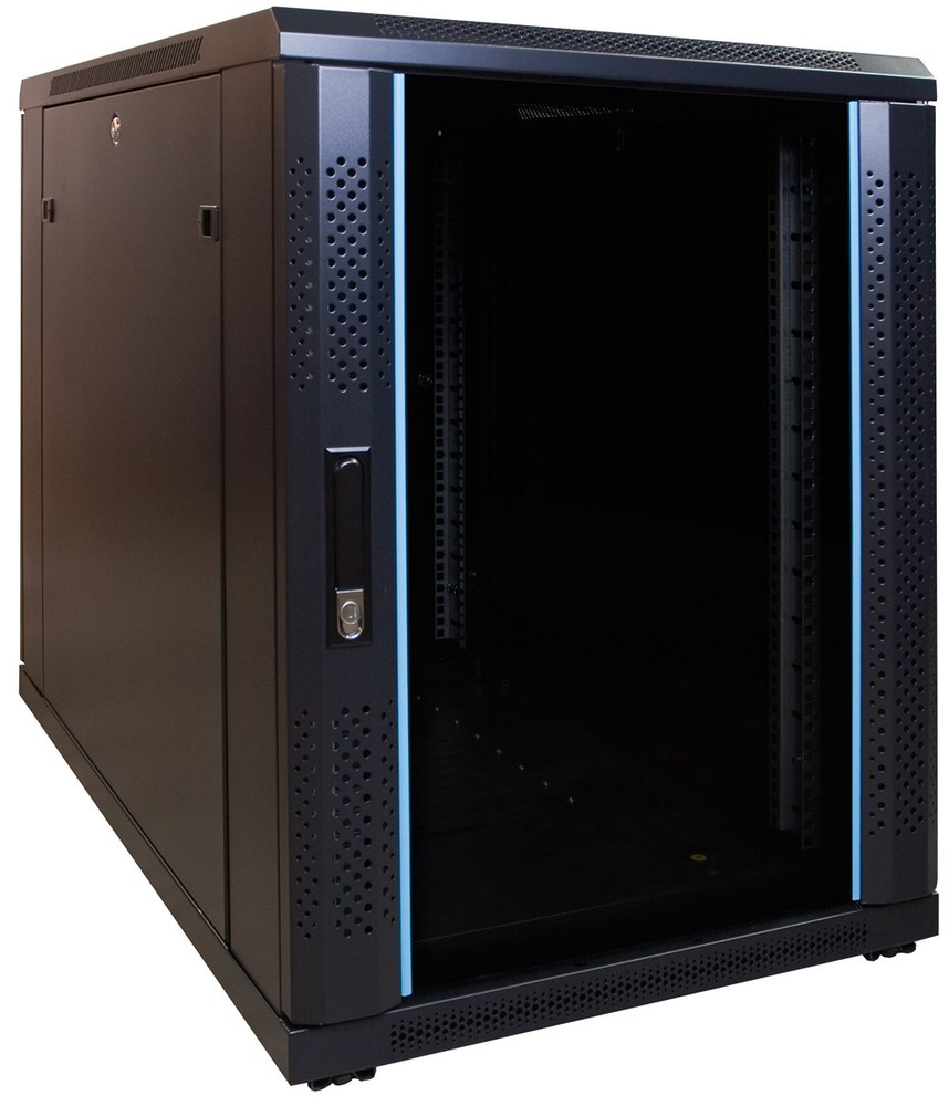 Afbeelding van 15U mini server cabinet with glass door 600x1000x770mm (WxDxH)