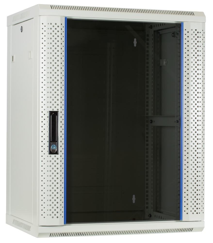 Afbeelding van 15U white wall mount cabinet with glass door 600x450x770mm