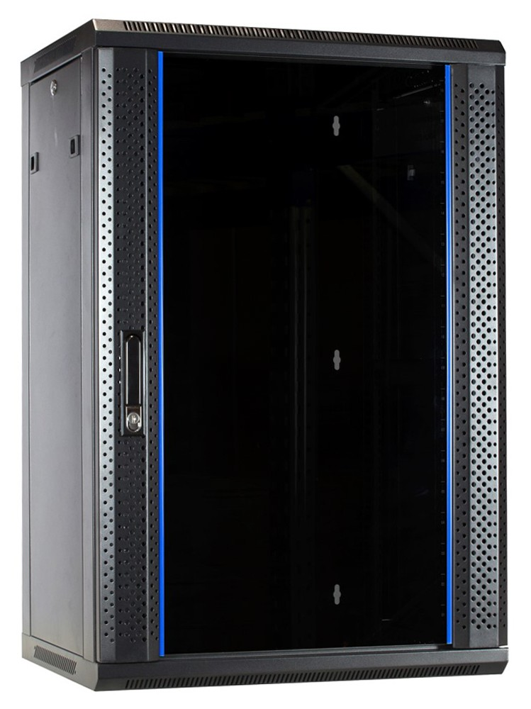 Afbeelding van 18U wall-mount server cabinet unassembled with glass door 600x450x900mm