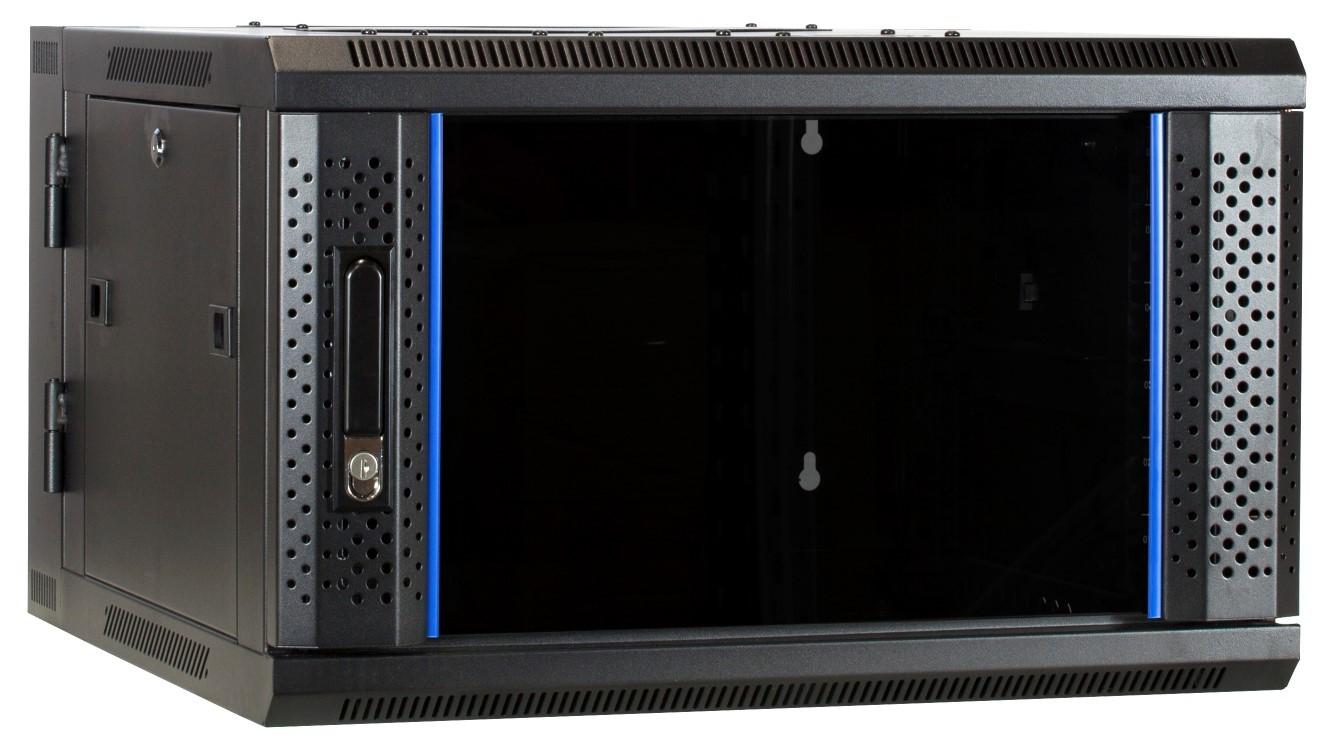 Afbeelding van 6U wal mount cabinet (tilting) with glass door 600x600x368mm