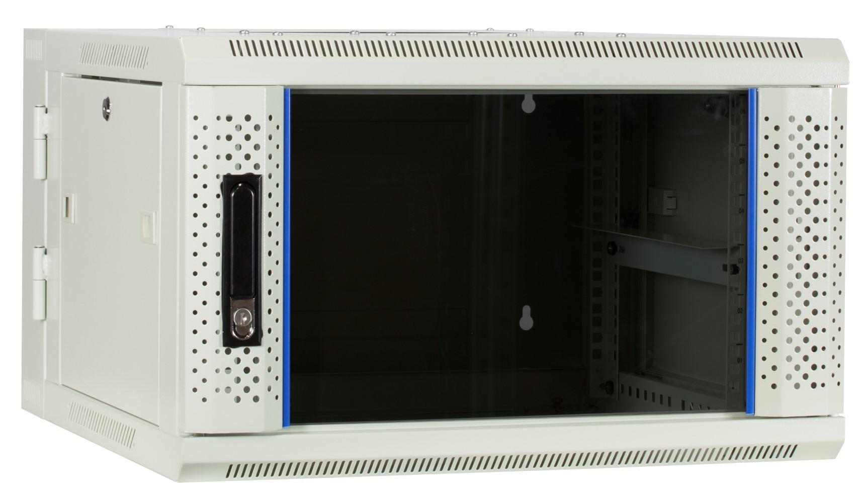 Afbeelding van 6U white wall mount cabinet (tilting) with glass door 600x600x368mm