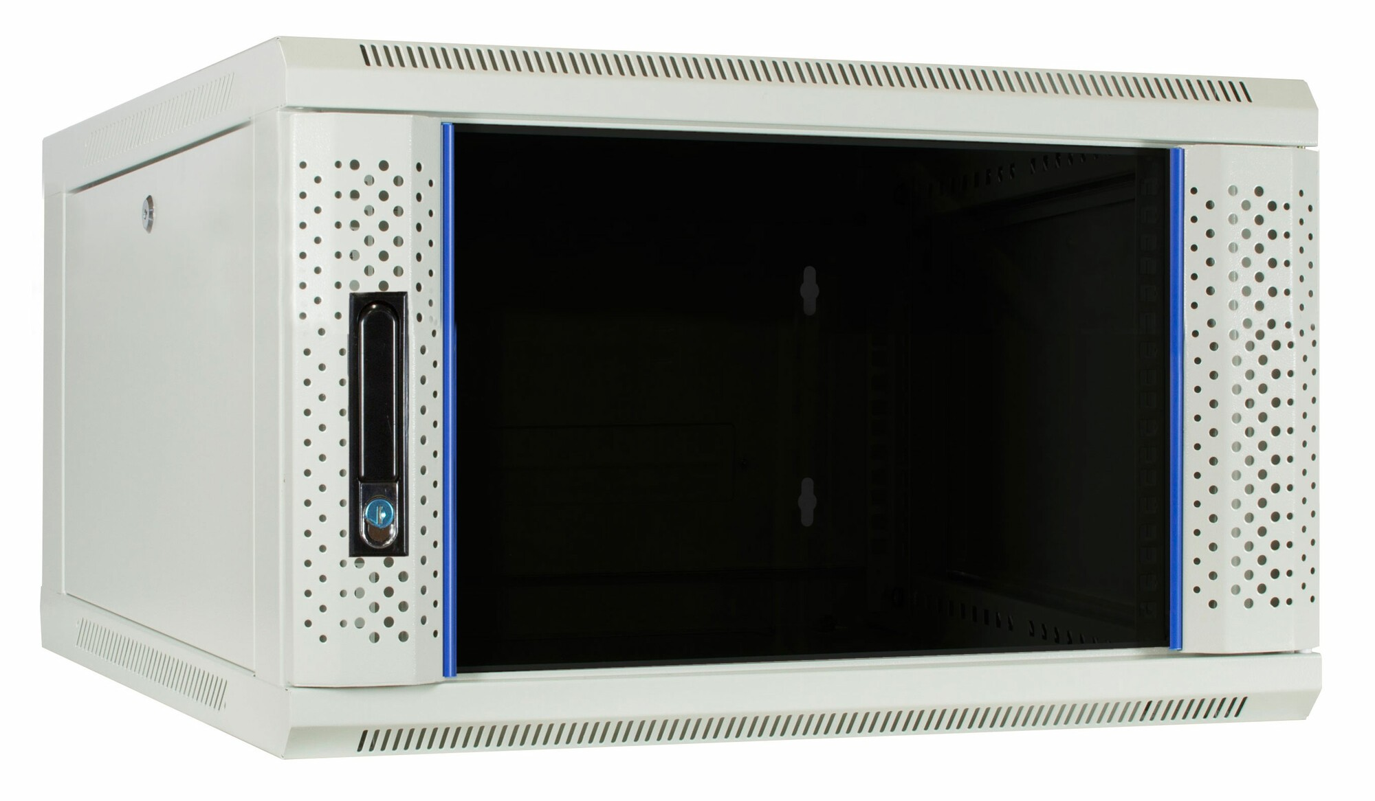 Afbeelding van 6U white wall mount server cabinet with glass door 600x600x368mm
