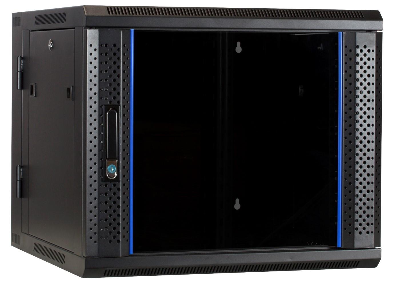 Afbeelding van 9U wall mount cabinet (tilting) with glass door 600x600x500mm