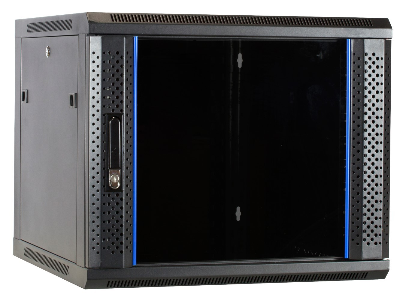 Afbeelding van 9U wall-mount server cabinet unassembled with glass door 600x600x500mm