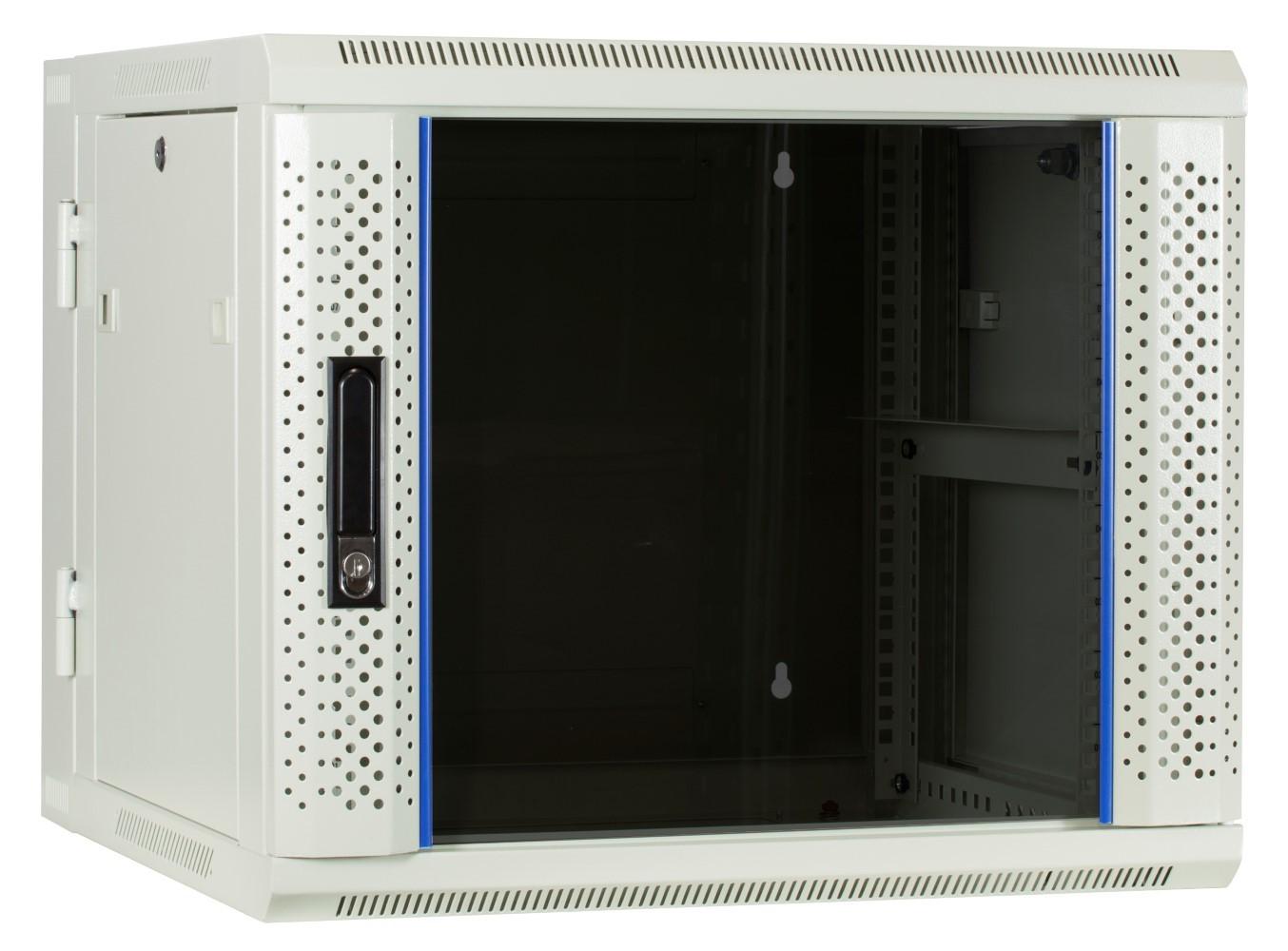 Afbeelding van 9U white wall cabinet (tilting) with glass door 600x600x500mm