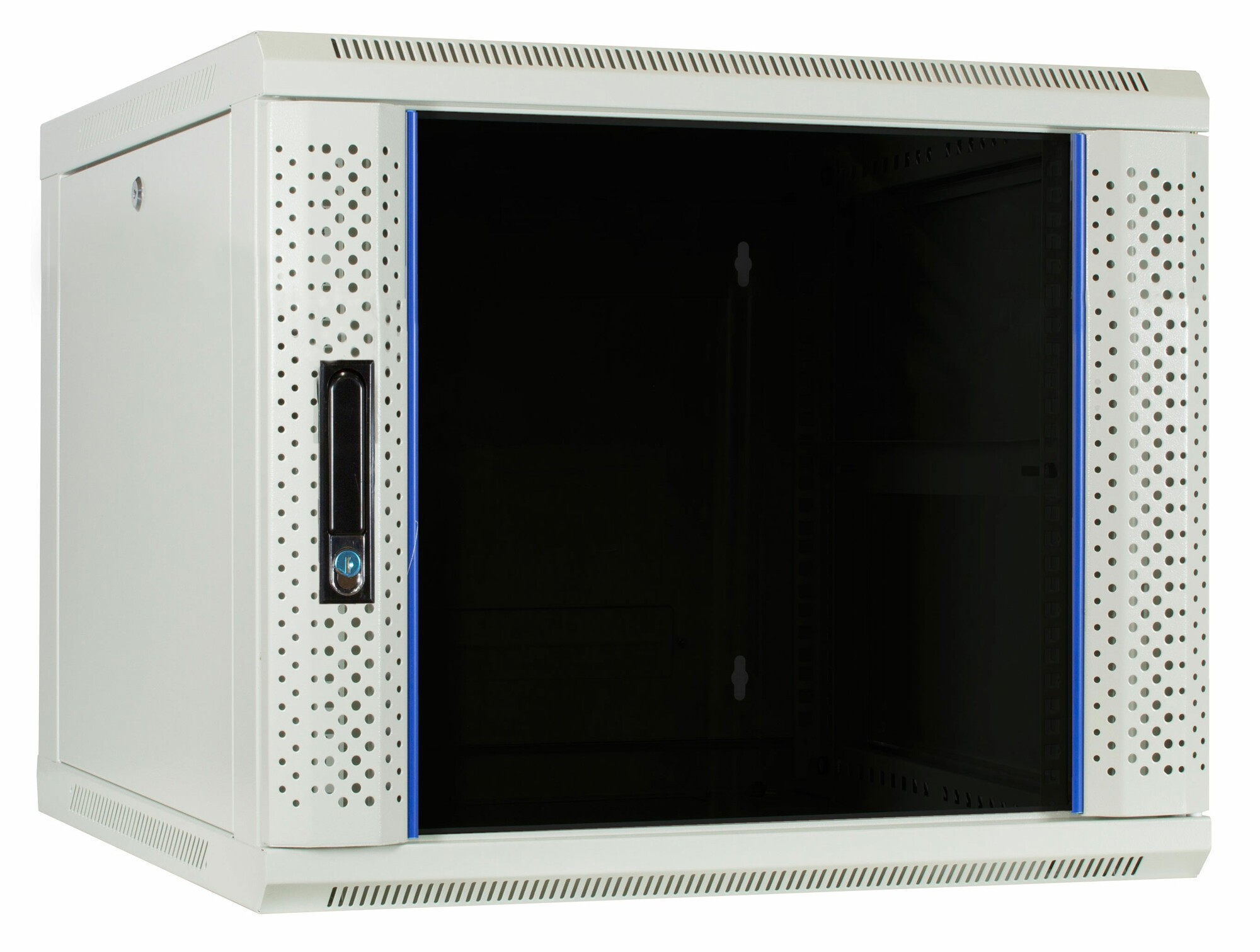 Afbeelding van 9U white wall mount server cabinet with glass door 600x600x500mm