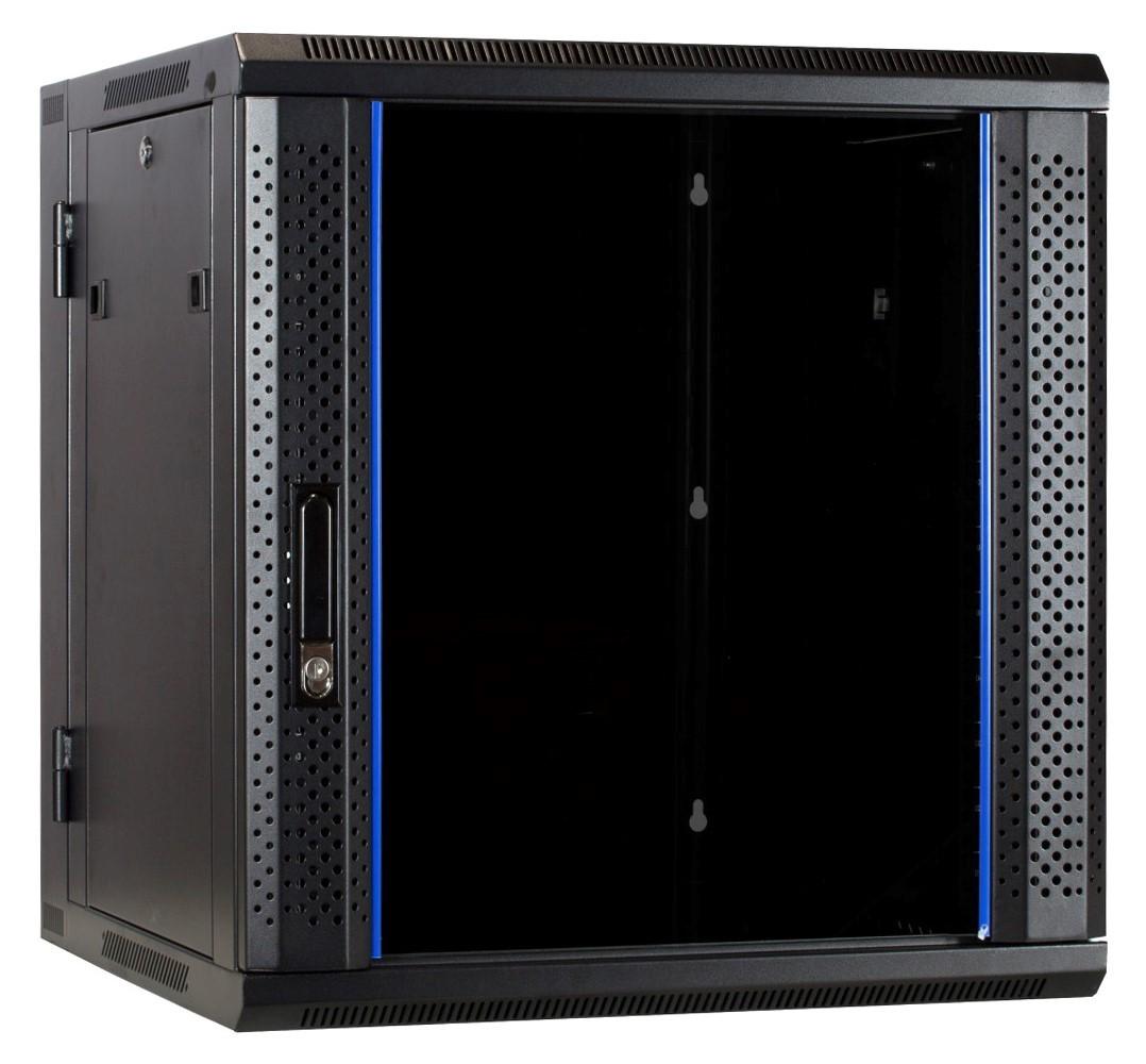 Afbeelding van 12U wall cabinet (tilting) with glass door 600x600x635mm
