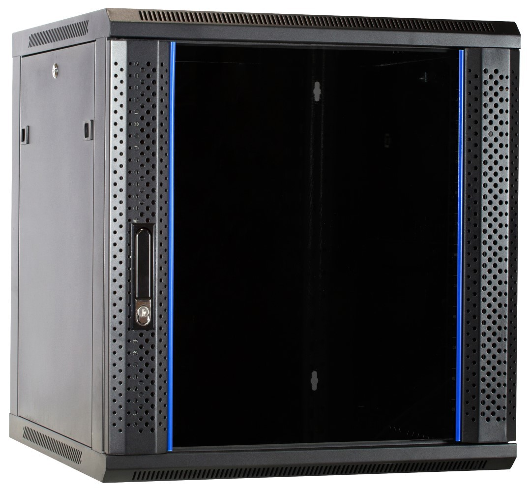 Afbeelding van 12U wall-mount server cabinet unassembled with glass door 600x600x635mm (WxDxH)
