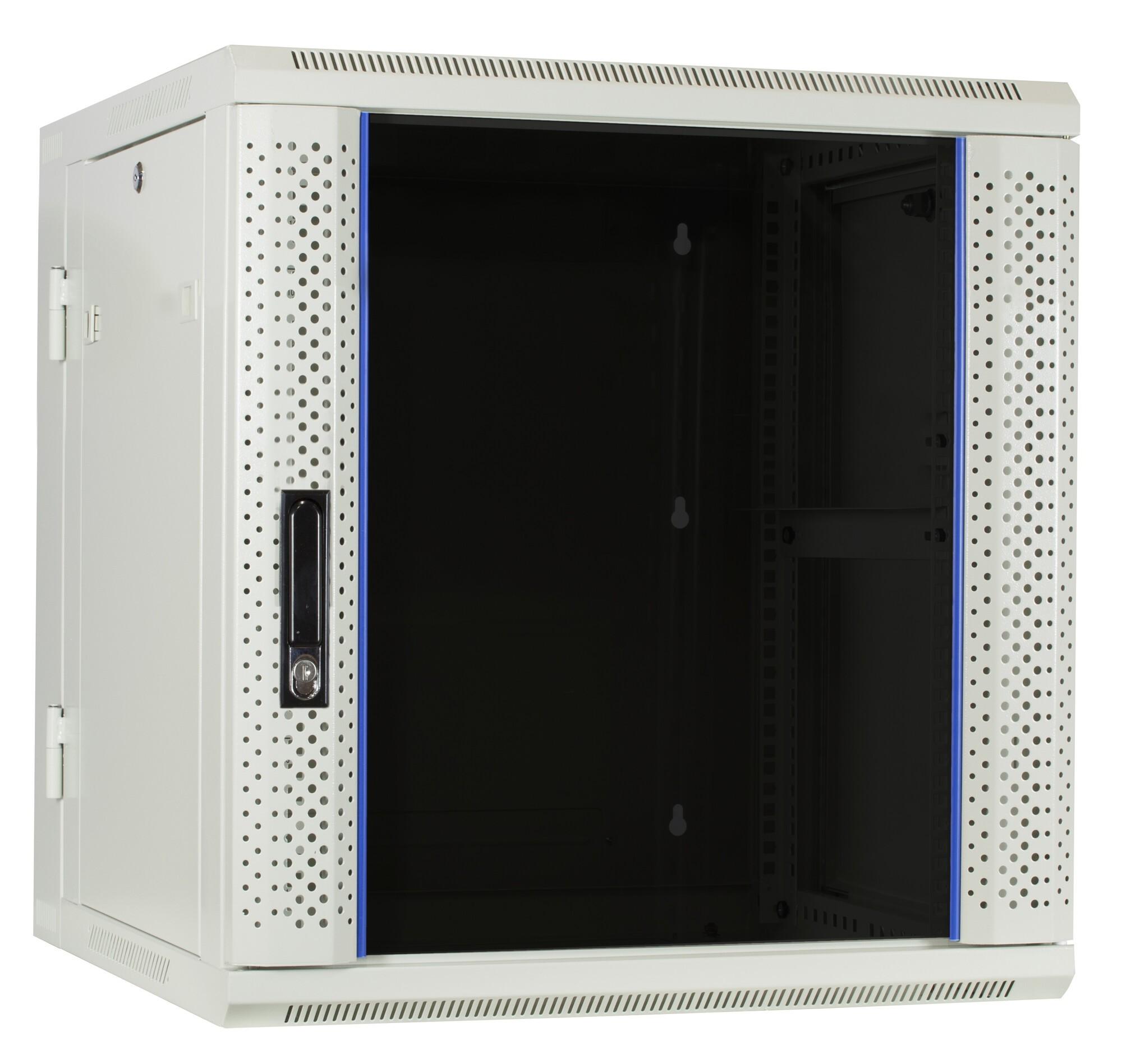 Afbeelding van 12U white wall cabinet (tilting) with glass door 600x600x635mm