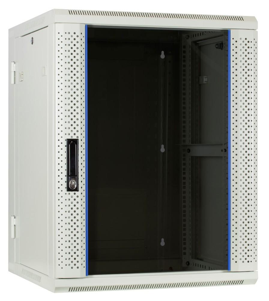 Afbeelding van 15U white wall mount cabinet (tilting) with glass door 600x600x770mm