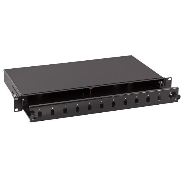 """Afbeelding van 19"""" patch panel LC/SC/E2000 ongemonteerd 12 ports extendible black"""