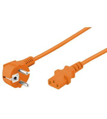 Power cable angled schuko to C13 5m orange