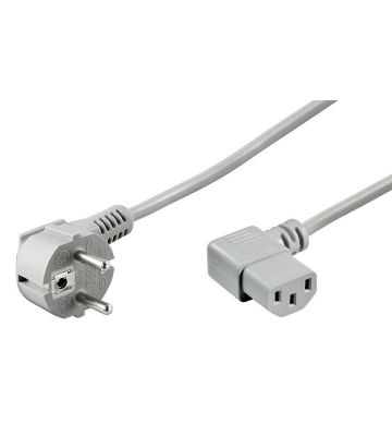 Power cord right-angled schuko to C13 2m grey