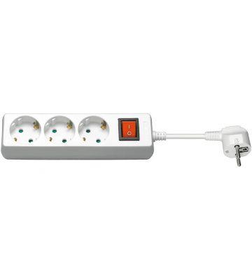 3 way power strip with switch 3m white