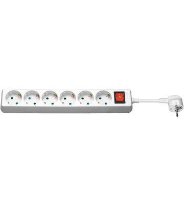 6 way power strip with switch 1,50m white