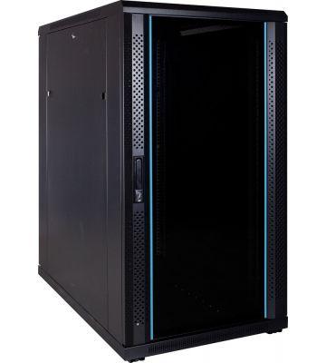 22U server rack with glass door 600x1000x1200mm (BxDxH)