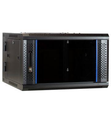 6U wal mount rack (tilting) with glass door 600x600x368mm
