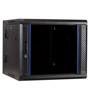 9U wall mount rack (tilting) with glass door 600x600x500mm