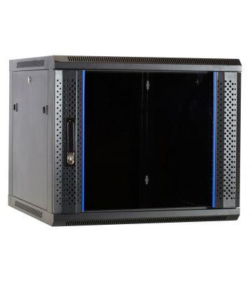9U wall-mount server rack unassembled with glass door 600x600x500mm