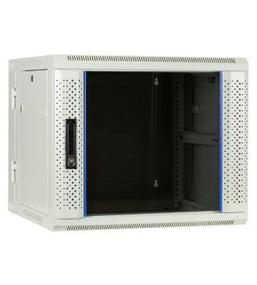 9U white wall rack (tilting) with glass door 600x600x500mm
