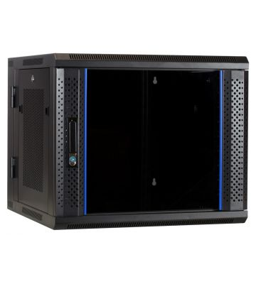 9U wall mount rack (tilting) with glass door and perforated side panels 600x600x500mm