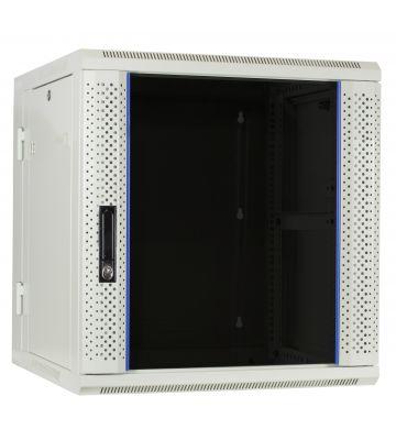12U white wall rack (tilting) with glass door 600x600x635mm