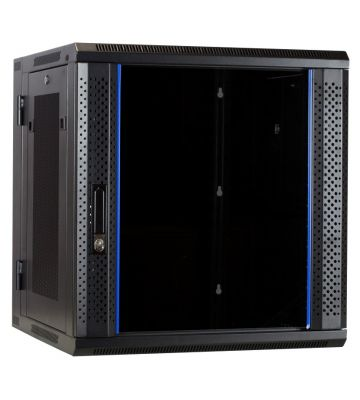 12U wall rack (tilting) with glass door and perforated side panels 600x600x635mm