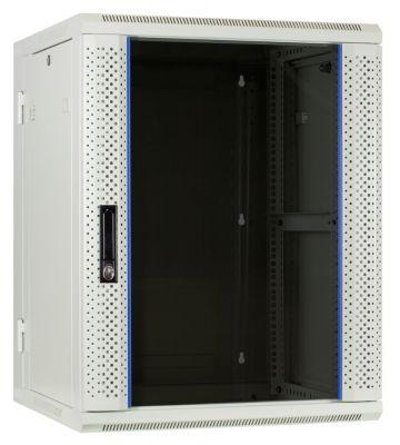 15U white wall mount rack (tilting) with glass door 600x600x770mm