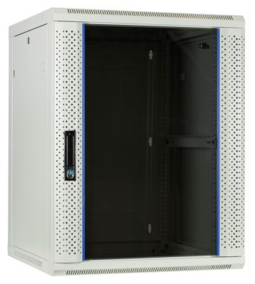 15U white wall-mount rack with glass door 600x600x770mm