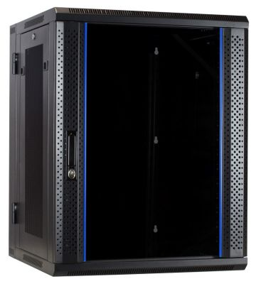 15U wall rack (tilting) with glass door and perforated side panels 600x600x770mm