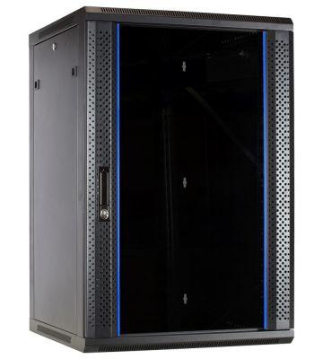 18U wall mount rack with glass door 600x600x900mm (WxDxH)