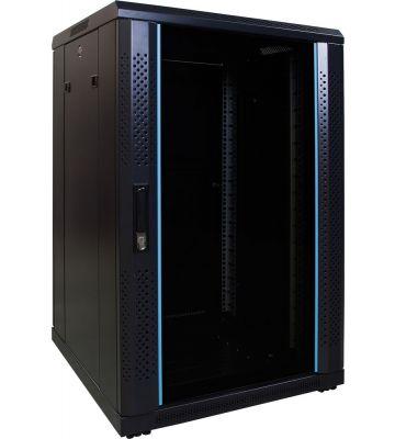 18U server rack with glass door 600x600x1000mm (WxDxH)