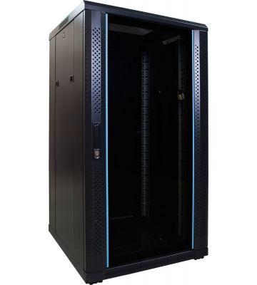 22U server rack with glass door 600x600x1200mm (WxDxH)
