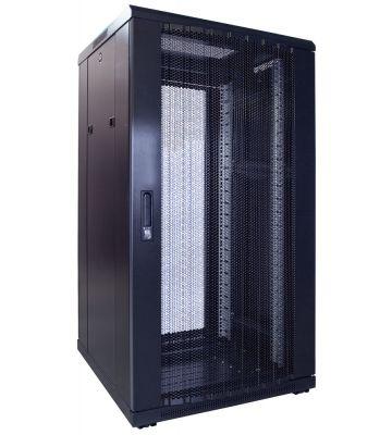 22U server rack with perforated door 600x600x1200mm (WxDxH)