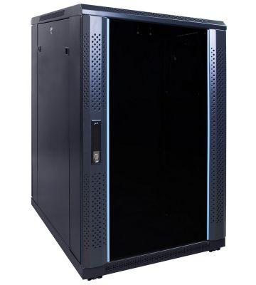 18U server rack with glass door 600x800x1000mm (WxDxH)