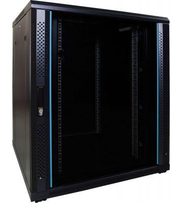 18U server rack with glass door 800x800x1000mm (WxDxH)