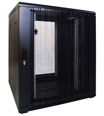 18U server rack with perforated door 800x800x1000mm (WxDxH)