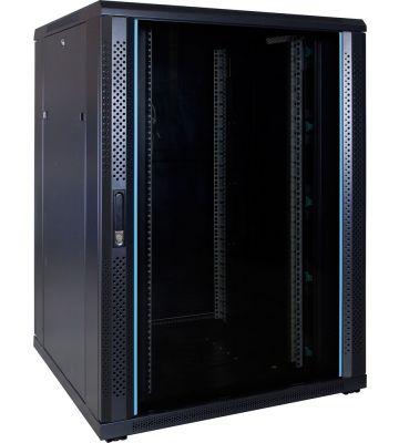 22U server rack with glass door 800x800x1200mm (WxDxH)
