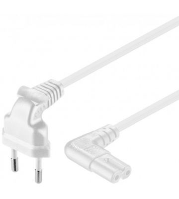 Power cord right-angled euro plug to C7 1m white