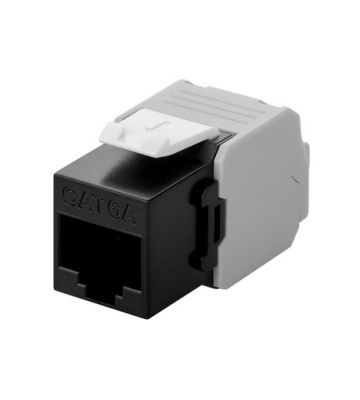CAT6a UTP Keystone Connector - Toolless - black