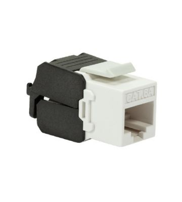 CAT6a UTP Keystone Connector - Toolless - Black/ White