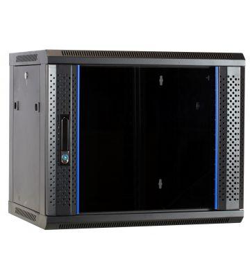 9U wall-mount server rack unassembled with glass door 600x450x500mm