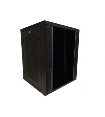 15U wall mount server rack with glass door and perforated side panels 600x450x368mm