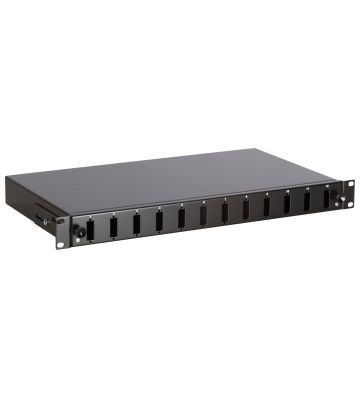 """19"""" patch panel LC/SC unmounted 12 ports extendible black"""