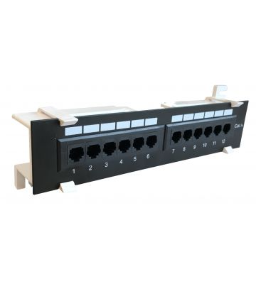 CAT5e UTP wall mount patch panel - 12 ports