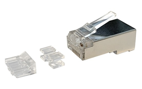 Afbeelding van CAT6a connector RJ45 shielded with joint-piece - for solid cable