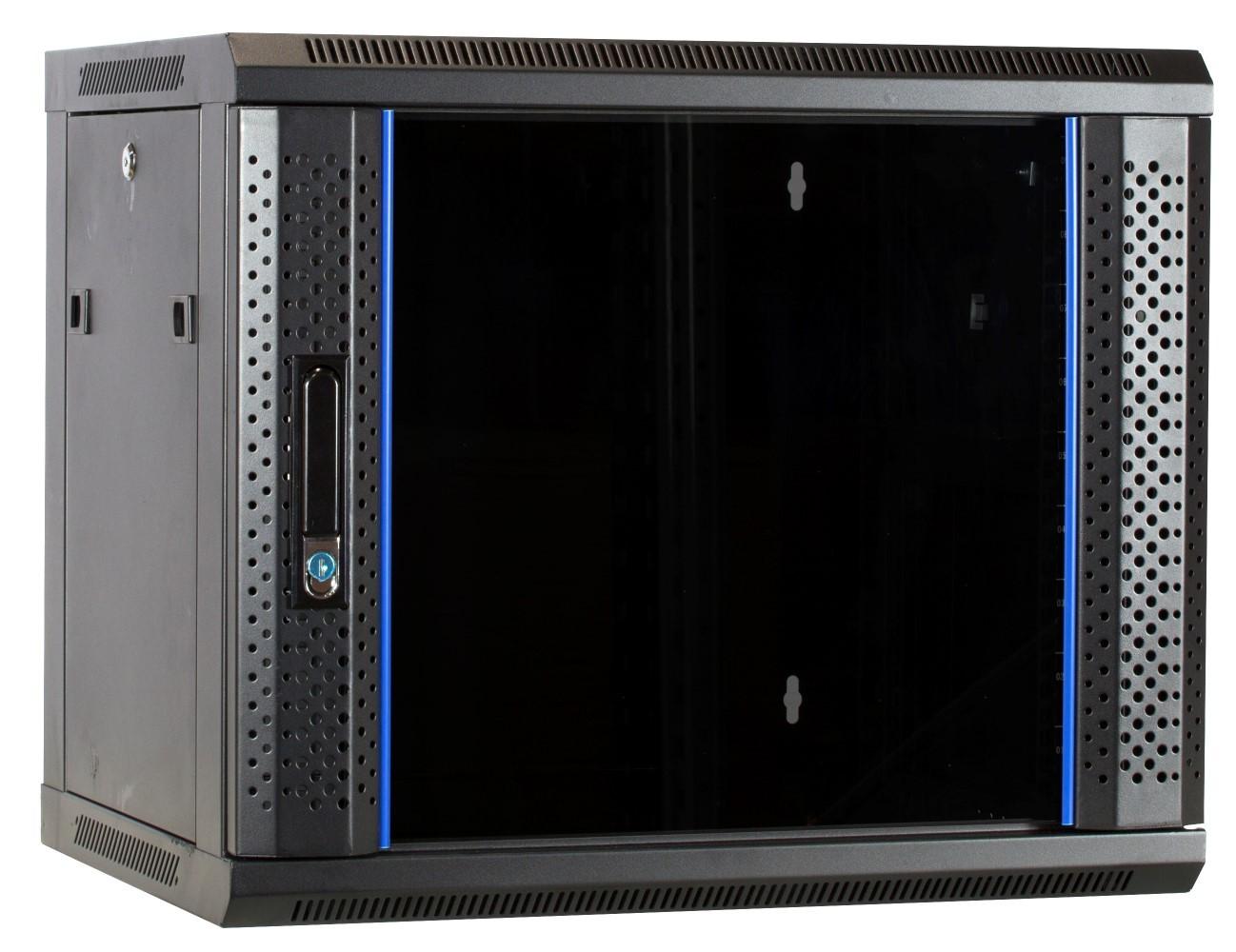 Afbeelding van 9U wall mount cabinet with glass door 600x450x500mm