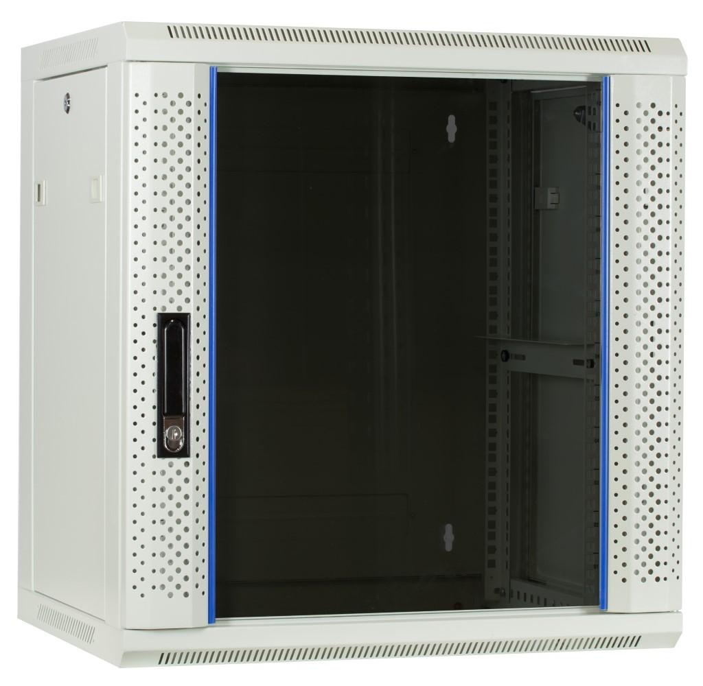 Afbeelding van 12U white wall moutn cabinet with glass door 600x450x635mm